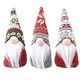HTZ-M 1 Juego 3 Piezas Adornos navideños Copo de Nieve muñeco Anciano muñecas de Punto Preciosas