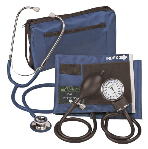 Veridian Aneroid Sphygmomanometer with Dual-head Stethoscope Kit, Adult, Navy Blue