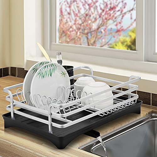 WOOHSE Abtropfgestell Geschirr mit Besteckkorb und Abtropfschale Geschirrständer Silber Geschirrkorb aus Aluminium mit Besteckhalter Geschirrtrockner für Küche Spüle Teller und Besteck