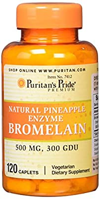 Puritans Pride Natural Pineapple Enzyme Bromelain Caplets, 120 Count
