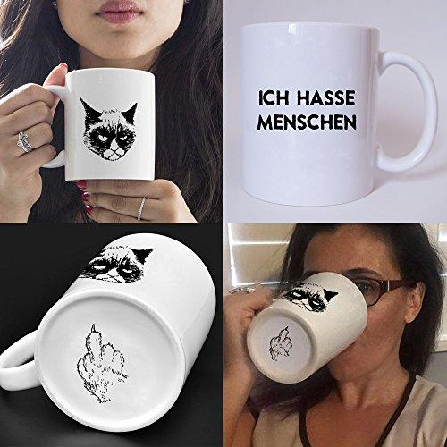 Lustig bedruckte Tasse mit Katzenmotiv und Spruch