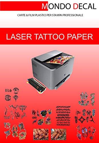 CARTA TRANSFER PER TATUAGGI TEMPORANEI - TEMPORARY TATTOO TRANSFER PAPER, 6 SET A4 STAMPA LASER