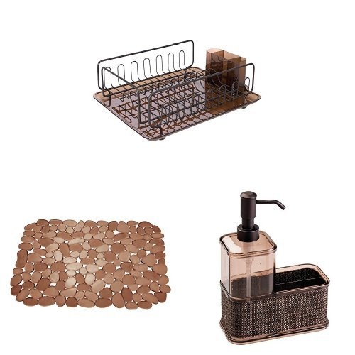 InterDesign 3-Piece Kitchen Sink Organizer Set: Forma Lupe Dish Drainer, Pebblz Sink Mat, Twillo Soap Pump Dispenser Caddy – Amber/Bronze