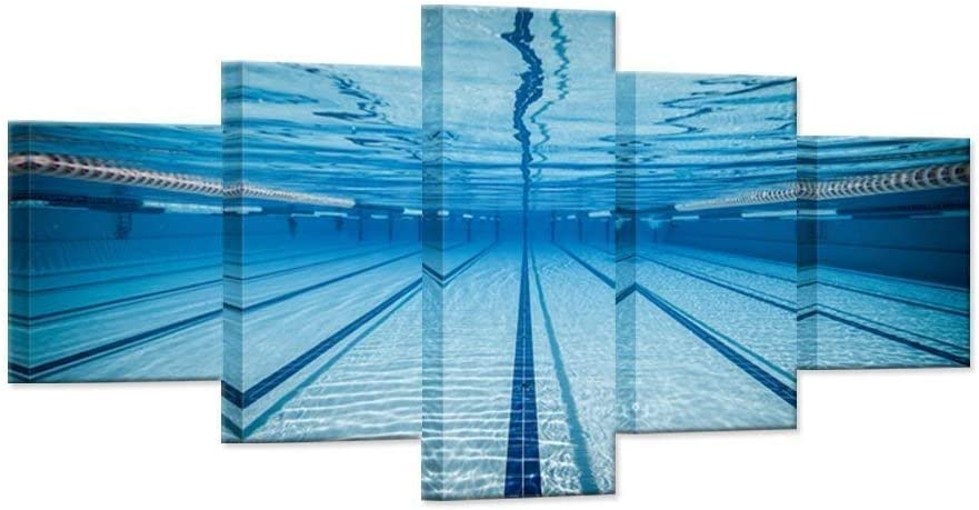 Large 5 Piece Canvas Wall Art National products Max 48% OFF Swimming Modern Na Water Blue Pool