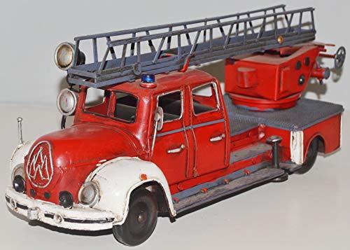 JS GartenDeko Blechauto Nostalgie Modellauto Oldtimer Marke Magirus-Deutz Modell Mercur Feuerwehr aus Blech L 35 cm