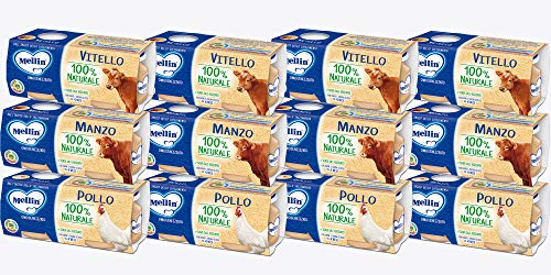 Mellin Omogeneizzato 100% Naturale, Mix Gusti Carne, 24 Vasetti da 80 gr