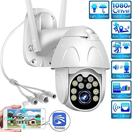 AINSS Cámara PTZ al aire libre 1080P inalámbrica IP cámara P2P CCTV cámara con audio/detección de movimiento bidireccional/función de visión nocturna IP66 impermeable