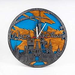 Wooden Wall Clock with Cinderella Castle Design Birthday Gift for Fan Cinderella Castle Wooden Clock Walt Disney 3D Wall Clock Cartoons Art Disney Castle 12 Inch Wooden Clock Xmas Gift for Kids