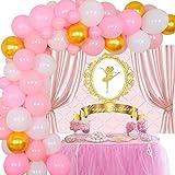 Decoraciones de fiesta de cumpleaños de bailarina para niña Kit de guirnalda de globos Fondo de bailarina rosa Tutú de ballet Suministros de fiesta de cumpleaños