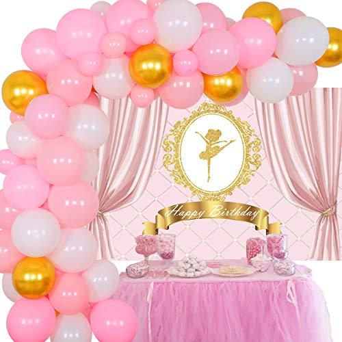 Ballerina Birthday Party Decorations for Girl Balloon Garland Kit Pink Ballerina Backdrop Ballet Tutu Birthday Party Supplies