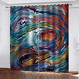 Cortinas Opacas Set Decoración hogareña 100% Fibra Extrafina Aislantes Cortina Opaca Térmicas Opacas Reducción de ruido Cortinas para Salón Dormitorio (91.5x214cm ) 2 Piezas -Remolinos de colores