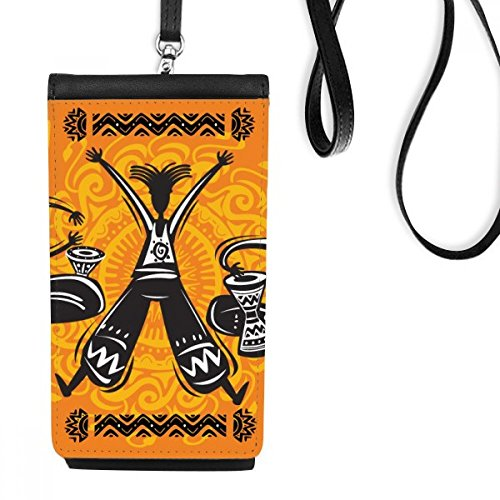 Dance Celebrate Mexico Totems Tambourine Phone Wallet Purse Hanging Mobile Pouch Black Pocket