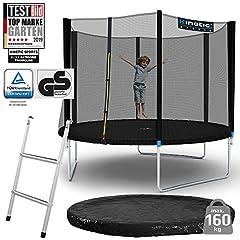 Kinetic Sports Outdoor Garden Trampoline , TPLS10, inclusief springdoek van USA PP-Mesh +Rand en Rain Cover +Ladder, tot 160kg, GS-getest, UV-bestendig, ZWART*