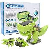 Robot Solar dinosaurio juguete ensamblado plástico educativo niños tecnología modelo juguete DIY juguete de construcción para niños(Verde)
