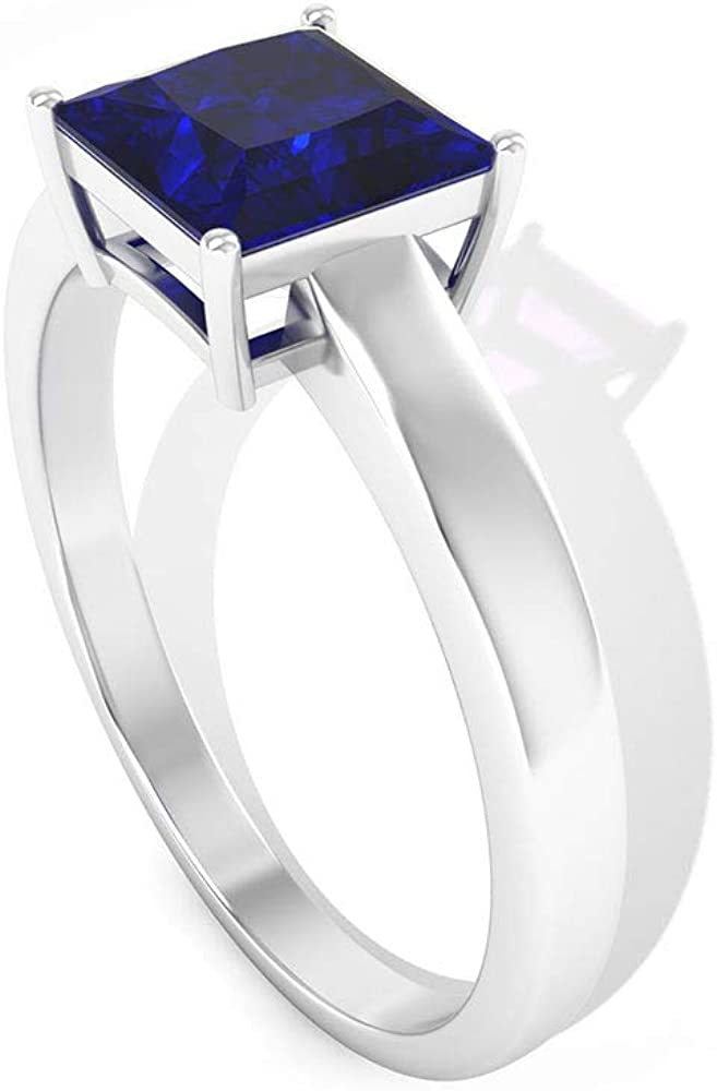 1.5 Ct SGL Certified Blue Sapphire Princess Cut Ge High material Shipping included Ring Wedding