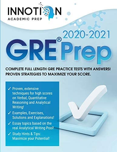 GRE Prep 2020 2021 Complete full length GRE Practice Tests with Answers Proven Strategies to product image