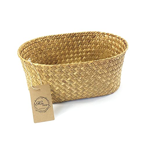 MISNINE Oval Woven Seagrass Bread Basket for Serving,Wicker Basket,Bread Warmer and Bread Serving Basket for Homemade Sourdough Bread or Rolls (棕, M)