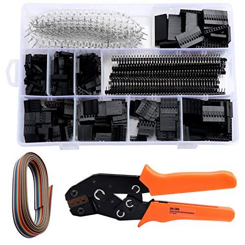 HSEAMALL Dupont Crimpzangen-Set AWG28-18, Dupont Ratschen-Crimpzange mit 1550 STÜCK Dupont-Stecker / -Buchse, 0,1-1,0 mm², Dupont-Crimp-Set für KF2510-Stecker mit 2,54 mm, 2,8 mm und 3,96 mm