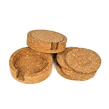 Coasterland Cork Coasters For Drinks With Holders, 2 SETS, Pack of 8 and 2 Holders, Save Your Furniture From Liquid Ring, Durable, Natural, Classic, Lovely Gift, Round, 3.9  Diameter