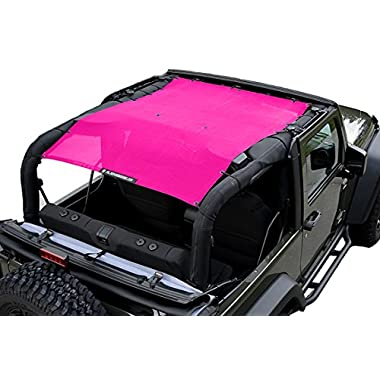 ALIEN SUNSHADE 2-Door Jeep Wrangler Mesh Shade Top Cover with 10 Year Warranty Provides UV Protection for Your JK (2007-2017) Pink