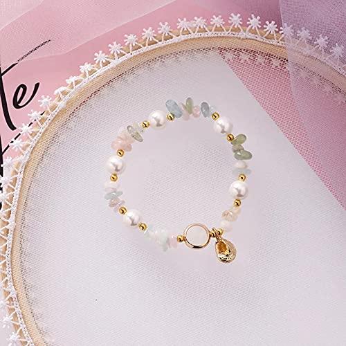 QiuYueShangMao Pulsera Pulsera de Concha Irregular Colorida Bohemia para Mujer, Pulseras elásticas de Perlas de imitación de Verano, joyería de Playa Pulsera de la Amistad