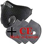 4sold - Set maschera viso antipolvere con 3 filtri, 5 strati per filtro, unisex, antipolvere, per la corsa, ciclismo, riflettente, maschera di sicurezza per esterni, conformità CE, Nero