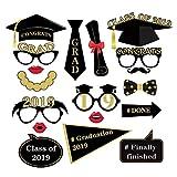 Abaodam 18 piezas de accesorios de fotografía de graduación divertida sonrisa cara de soltero Cap Shooting Props de graduación fiesta Cosplay herramienta de disfraces