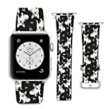 Compatible with Apple Watch Wristband 42mm 44mm, (French Bulldogs and Love Hearts Pattern) PU Leather Band Replacement Strap for iWatch Series 5 4 3 2 1