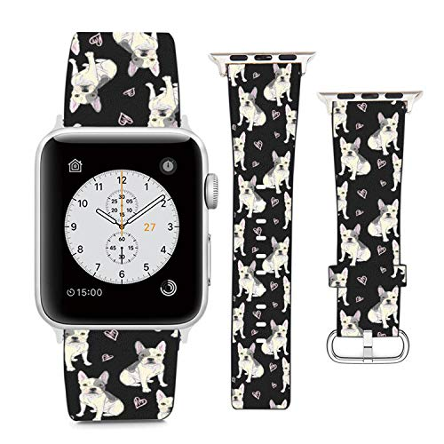 Compatible with Apple Watch Wristband 38mm 40mm , (French Bulldogs and Love Hearts Pattern) PU Leather Band Replacement Strap for iWatch Series 5 4 3 2 1