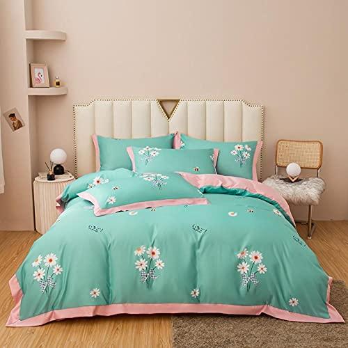 funda de edredón de lino,Lavar el conjunto de cuatro piezas de seda, cómoda sedosa cama de verano reversible de una sola almohada de la cama de la almohada Suministros de cama regalo-V_1,8 m de cama