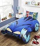 PJ Masks CATBOY'S 'CAT-CAR' geformtes Bettwäsche-Set für Einzelbett, Polyester-Baumwolle,...