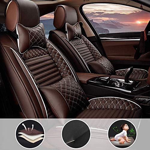 shanhua Autositzbezüge 5 Sitze Full Set Universal für V W Golf R mit Kopfstütze und Lendenkissen Kaffee