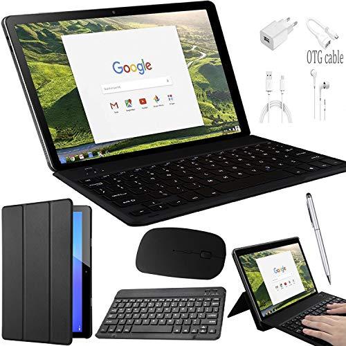 Tablet 10 pollici con wifi offerte 4G, 2 in 1-64GB ROM 3GB RAM Android 8.1 Octa Core Dual SIM 8MP Tastiera e Mouse Wireless Inclusi 8500mAh Bluetooth GPS OTG Tablet PC Supporto Youtube Netflix (Nero)