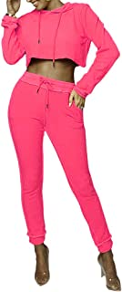 Women Casual Pullover Hoodie Crop Top Drawstring Sweatpants Two Piece Sport Tracksuit Outfits Set with Pockets