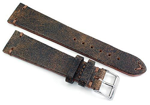 Sulla 20 mm Vintage Leder Uhrenarmband Handgemacht in Deutschland Retro Look Braun