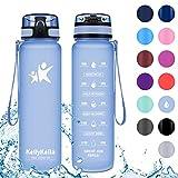 KollyKolla Gourde Sport - 800ml, Bouteille d'eau Reutilisable avec Filtre, Gourdes d'eau sans BPA Tritan, pour Enfant & Adulte, Anti-Fuite Flip Top en 1 Clic, Marqueur de Temps Bleu Mauve