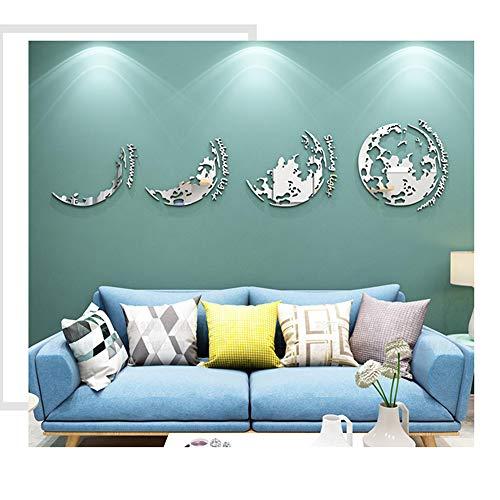 GWXLDWALL Wall Stickers - Arte DIY 3D Specchio Acrilico Smontabili della Parete della Decalcomania della Decorazione Domestica per Camera Gold-L