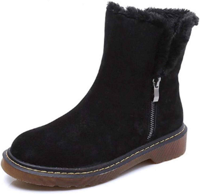 FMWLST Stiefel Frauen Stiefel Reiverschluss Winterstiefel Frauen Stiefeletten Schnee Stiefel Plüsch Warme Damenschuhe