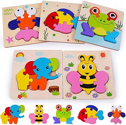 Rolimate Puzzles de Madera Juguetes Bebes, De Madera Rompecabezas Set Montessori Juguete 3 4 5+ años, Habilidad motora Fina Juego de Regalo Educativo Preescolar de Aprendizaje temprano para niños