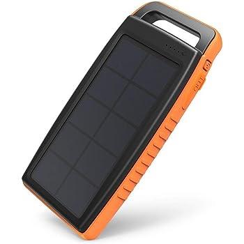 RAVPOWER Chargeur Solaire Portable 15000mAh avec Deux Méthodes de Recharge (Panneau Solaire, Entrée DC 5V/2A, Deux Ports USB iSmart, et Une LED Puissante)