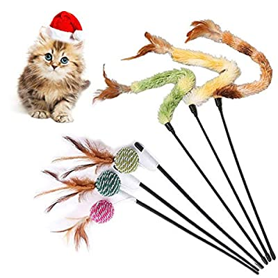 Cat Feather Toys, Cat Toy Wand, Teaser Wand Toy Set, Cat Teaser Interactive Toy, Cat Toys Funny Teaser, Cat Interactive Toy for Kitten Cat Having Fun Exerciser Playing (6PCS)