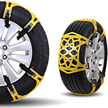 Maso Universal Tire Chains 6Pcs Anti-Skid Snow Chains Portable Easy to Mount Emergency Traction Car Snow Tyre Chains Universal for Tyres Width 165-285mm