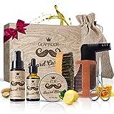 Kit Barbe Homme 8pcs GLAMADOR-Soins Entretien de Barbe-Kit Complet Huile,Baume,Shampoing,Peigne,Ciseaux,Peigne Pochoir,Brosse à...