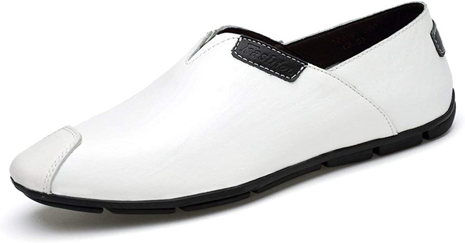ZHRUI Boy's Men's Pointed Toe Synthetic Slip-on Loafers (color   White, Size   5.5 UK)