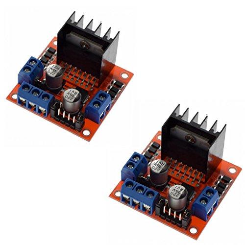iHaospace 2 Pcs L298N Dual H Bridge DC Motor Driver Stepper Motor Driver Controller Module for Arduino Motor Drive Controller Board Module