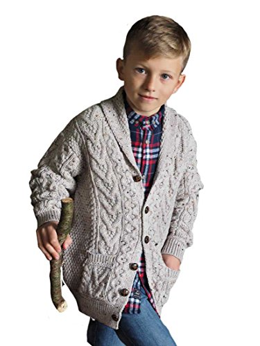 Aran Crafts Kinder-Strickjacke aus 100 % Merino-Wolle, Farbe Oatmeal