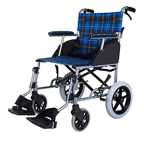 DSHUJC Manueller Allrad-Rollstuhl aus Aluminiumlegierung Leichtes Zusammenklappen mit Bremse, Behindertenwagen für ältere Menschen (Farbe: Blau)