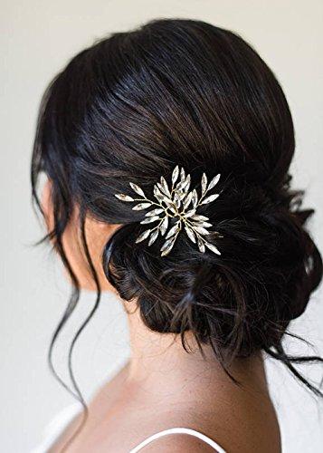 Kercisbeauty handgemachte Braut Haarschmuck Brautjungfern einfach niedlich Kristall Gold Silber Blatt Blätter Haar Pins Kopfschmuck Blumenmädchen (3er Set)(Silver)