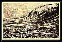 ポスター オベイ Dark Wave/Shepard Fairey 手書きサイン入り 額装品 ウッドハイグレードフレーム(ブラック)