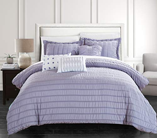 Chic Home Hadassah 6 Piece Comforter Set Striped Ruched Ruffled Bedding-Decorative Pillows Shams Included, King, Lavender